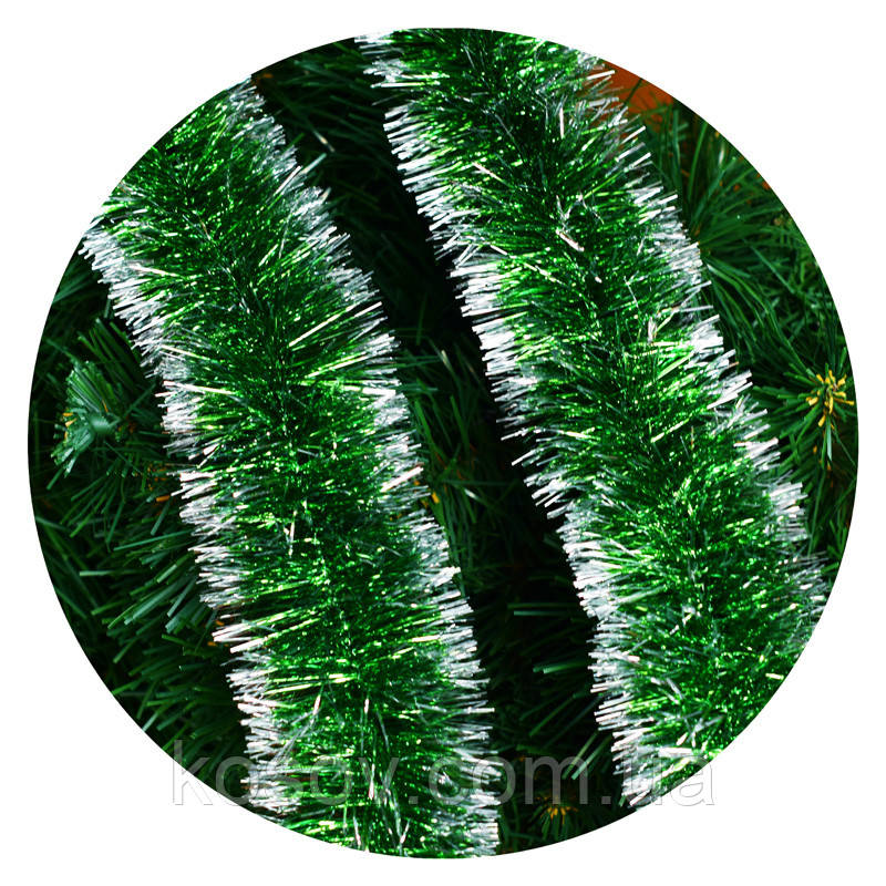 Дождик (мишура) 7см Польша  (зеленый серебряные края)