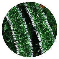 Дождик (мишура) 7см Польша  (зеленый серебряные края), фото 1