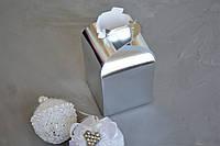 """Коробка """"Мешочек"""" из ламинированного картона, серебро,110*110*140*купол 50, фото 1"""
