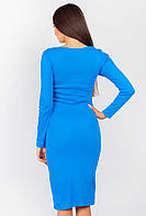 Платье миди с длинным рукавом 230F028 (Электрик)