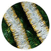 Дождик (мишура) 7см Польша  (серебряный золотые концы), фото 1