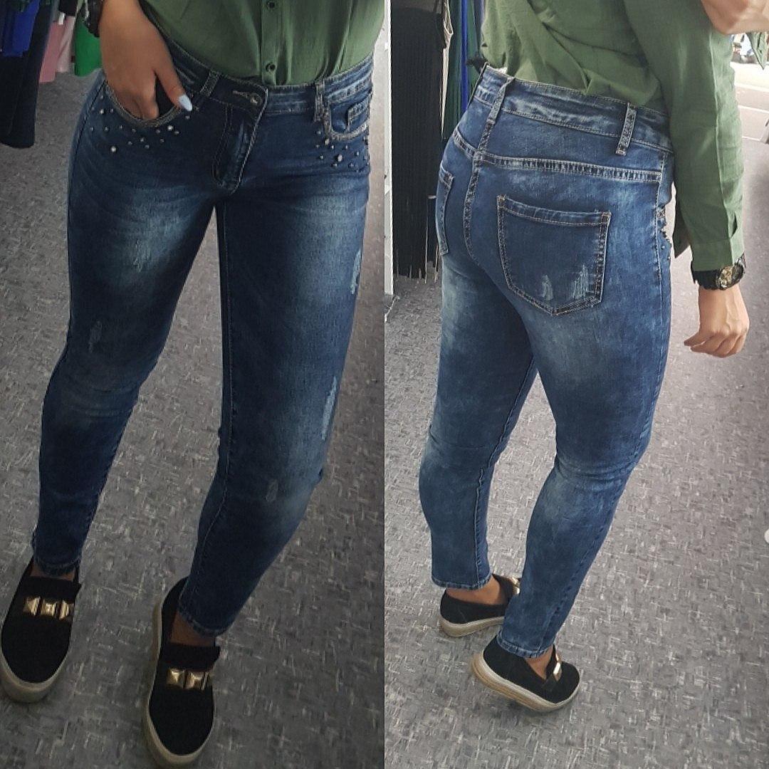 Женские джинсы украшенные бусинками
