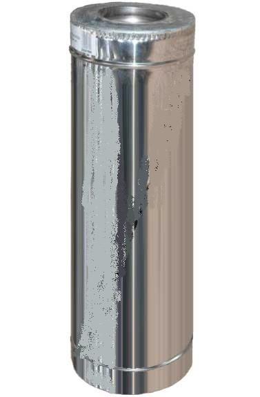 Труба дымоходная   0,3м нерж/оцинк 1 мм ф180/250 AISI 201