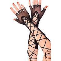 Длиные черные перчатки на шнуровке
