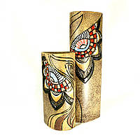 Вазы керамические набор авторский дизайн ручная роспись Сердечко коричневые 39см+26см 9878