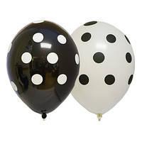 Набор шаров воздушных белый и чёрные в горох