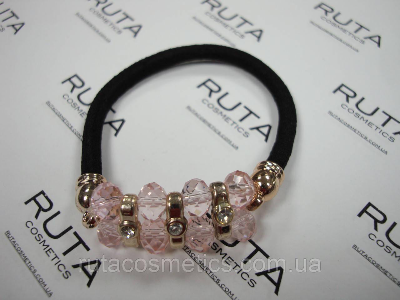 Резинка для волос Алмазная россыпь нежно-розовая