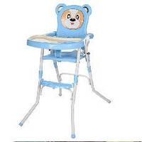 Стульчик 113-4 для кормления,2в1(стульчик),cклад.,2-х точ.рем.безоп,регул.столик,синий(Ч)