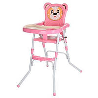 Стульчик 113-8 для кормления,2в1(стульчик),cклад.,2-х точ.рем.безоп,регул.столик,розовый(Ч)