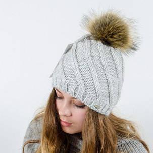 """Вязаная женская шапка """"Berta"""" с меховым помпоном, фото 2"""