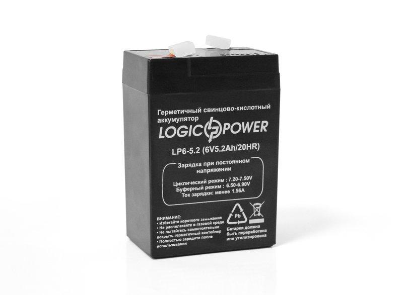 LogicPower LP6-5.2 AH - 6В - 5,2 А/год - кислотний акумулятор для ліхтаря, ваг, дитячої машинки