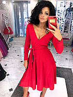 Женское осеннее удлинённое платье с ангоры на запах с поясом и декольте  3 цвета