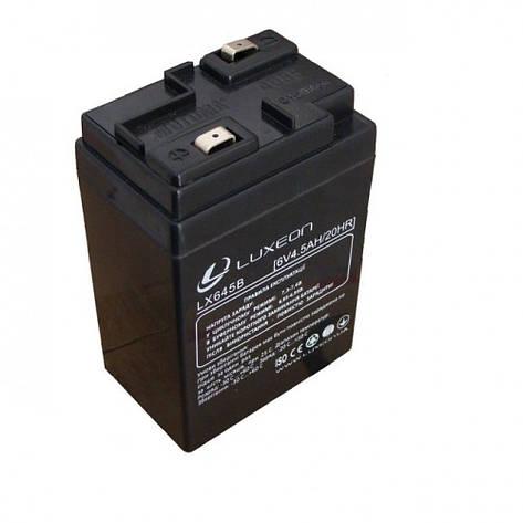 LUXEON LX645B - 6В - 4,5 А/год - кислотний акумулятор для ліхтаря, ваг, дитячої машинки, фото 2