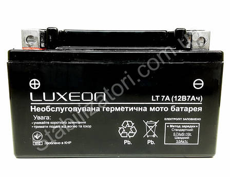 LUXEON LT7A-12V-7 AH - 12В - 7 А/ч  - аккумулятор для скутера, мопеда, мотоцикла, фото 2