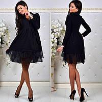 Женское осеннее пышное платье с длинным рукавом и подъюбником 3 цвета