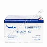 MERLION 6-DZM-12 - 12В - 12 А/ч тяговый аккумулятор - для электровелосипеда