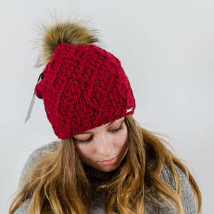 """Вязаная женская шапка """"Sidni"""" с меховым помпоном, фото 2"""