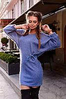 Женское короткое осенне ангоровое  платье с поясом  3 цвета