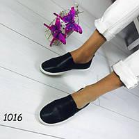 Слипоны женские мокасины черные фирменная лейба, фото 1