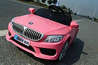 Детский электромобиль BMW КХ1339-2 Премиум, резина, кожа, ключ зажигания, розовый