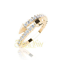 Золотое кольцо с фианитами стрелочка. ГП10434