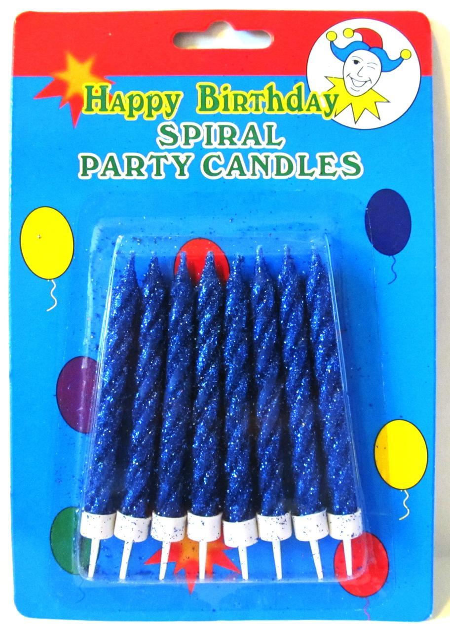 Свечи для торта с синим глиттером.