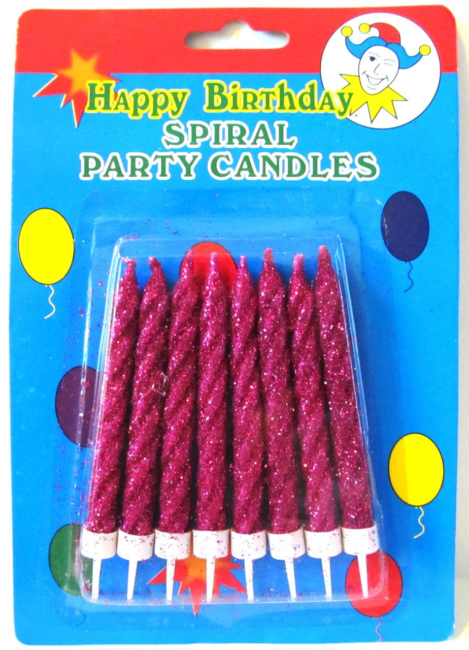 Свечи для торта с фиолетовым глиттером.