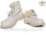 Женские ботинки Timberland Roll Top белые с мехом