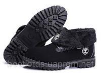 Женские ботинки Timberland Roll Top черные с мехом