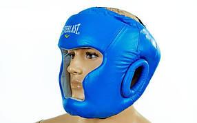 Шлем боксерский с полной защитой Кожа ELAST ME-0147-L(B) (синий, р-р регул.)