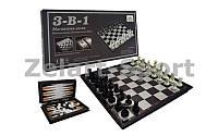 Шахматы, шашки, нарды 3 в 1 дорожные пластиковые магнитные SC58810 (р-р доски 32см x 32см)