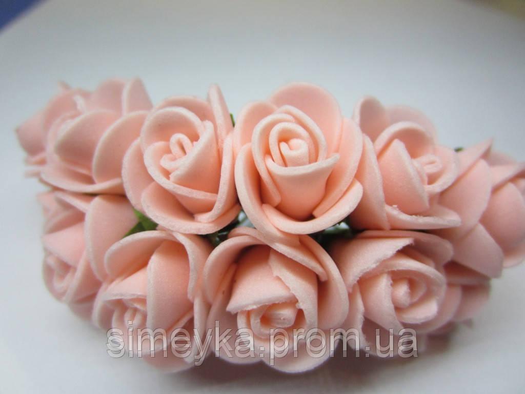 Розочка из фоамирана персиковая, 11 цветков, диаметр цветка 25 мм
