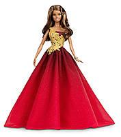 Коллекционная оригинальная кукла Барби Новогодняя в краном платье - Праздничная, Barbie 2016 Holiday