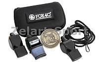 Свисток судейский пластиковый набор 3шт FOX40-6906-0500 (на шнуре, 3 свистка, монета, чехол)