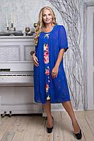 Цветное трикотажное платье миди с однотонной шифоновой вшитой накидкой больших размеров