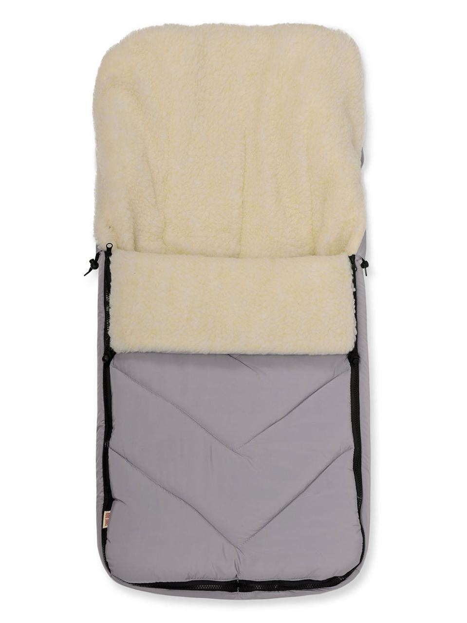 Зимний детский конверт на меху в санки коляску, светло-серый