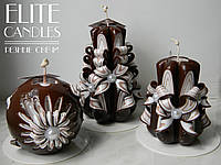 Подарочный набор свечей шоколадного цвета