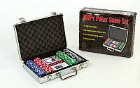 Набор для покера в алюминиевом кейсе IG-4392-200 на 200 фишек без номинала (2кол.карт, 5куб)