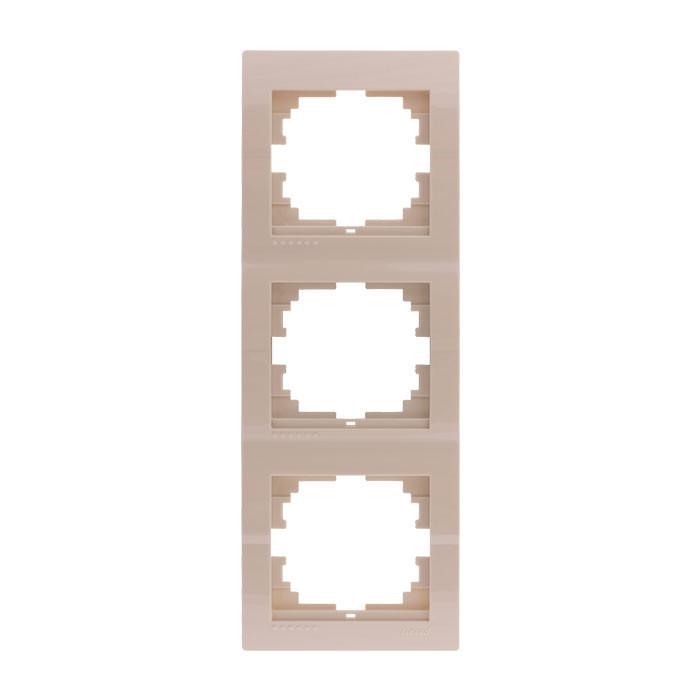 Рамка тройная вертикальная Lezard Deriy Крем 702-0303-153