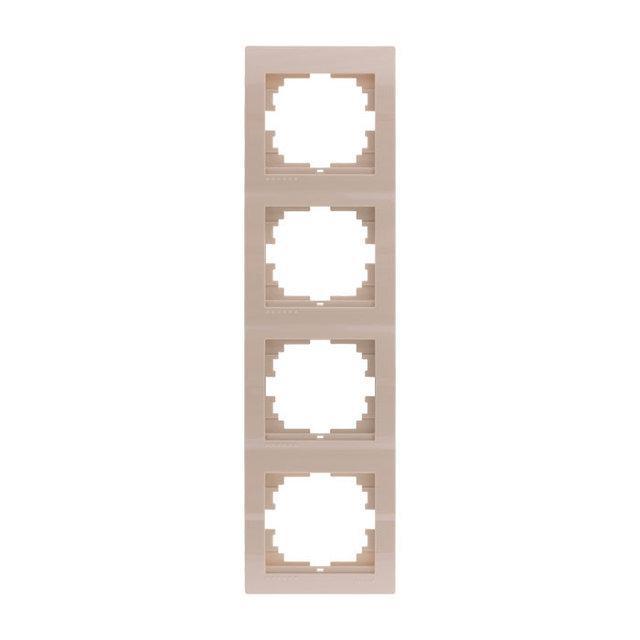 Рамка четверная вертикальная Lezard Deriy Крем 702-0303-154
