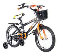 """Велосипед двухколесный Kids Bike  16"""" , с корзинкой,  оранжевый"""