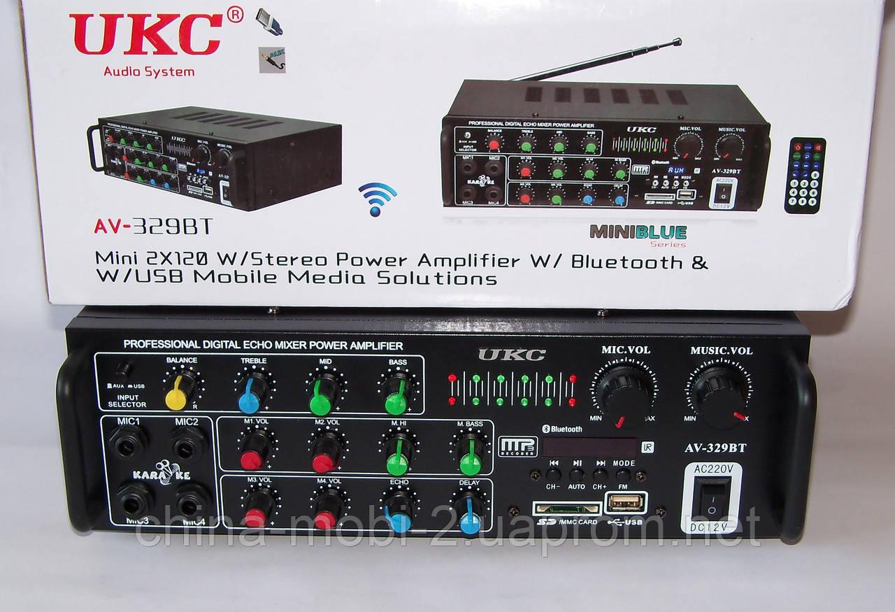Підсилювач звуку UKC AMP AV-329BT 2*120W c Karaoke і Bluetooth