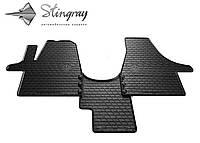 Полики для авто Фольксваген Т5 (1+1) 2003- Комплект из 3-х ковриков Черный в салон