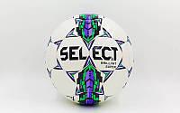 Мяч футбольный №5 PU ламин. ST BRILLANT SUPER ST-25 белый-зеленый-фиолетовый (№5,5 сл.,сшит вручную)