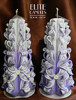 Подарочный набор свечей ручной работы в нежно фиалковом цвете