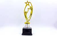 Награда (приз) спортивная RUN YK-132A (пластик, h-30,5см, b-8см, золото)