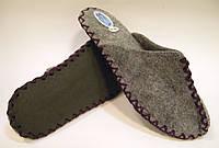 Комнатные войлочные тапочки женские для дома с фиолетовым шнурком