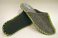 Тапочки женские ручной работы из войлока с салатовым шнурком, фото 1