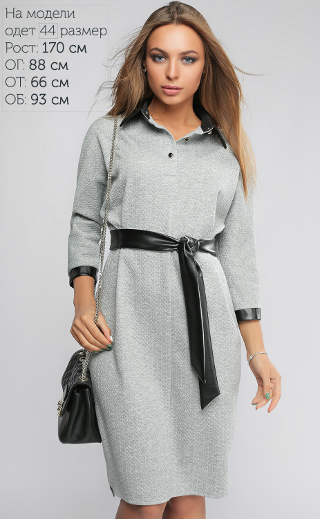 Платье женское с пояском из экокожи