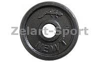 Блины (диски) стальные отв. d-30мм UR Newt NT-5222-5 5кг (сталь окрашенная, серый)